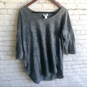 KAISELY Distresses Short Sleeve Sweatshirt Size L